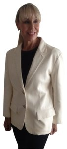 Jil Sander Beautful. Great Blazer Style. Brown Topstiching. Creamy winter whiite Leather Jacket