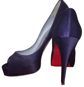 Christian Louboutin Peep Toe Heels Satin Heels Navy Blue Pumps