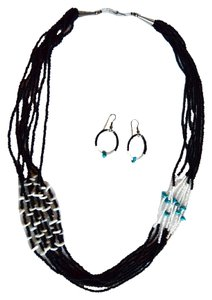 Gramma's Estate Jewelry Multi-Strands of Black Seed Beads with Turquoise and Ivory Beads Necklace and Earring Set Matching Hoop Pierced Earrings.