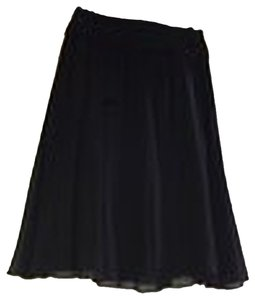 St. John Silk Flowy Skirt Black