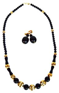 Napier Vintage Estate NAPIER Signed Necklace & Clip Earring Set Black & Gold Beads