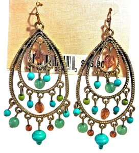 Bold Elements Triple Brass Pear Hoop Beaded Dangle Earrings