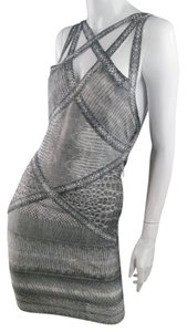 Hervé Leger Bodycon Snakeskin Metallic Party Dress