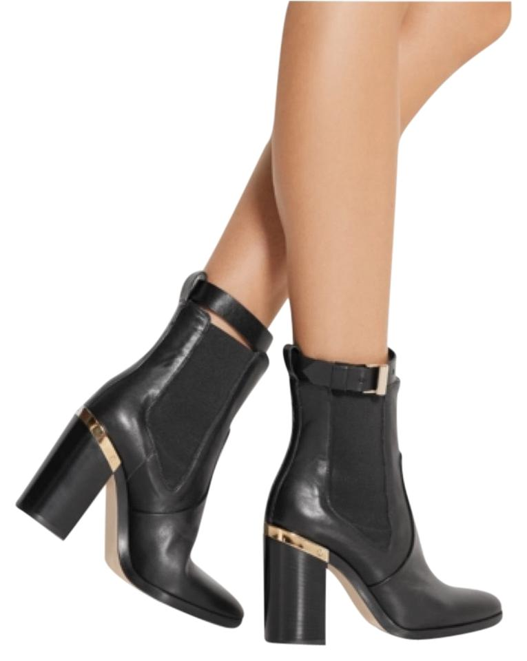 8a73a18ea06ca Reed Krakoff Black Gold Trimmed Leather Ankle Boots Sandals Size US ...