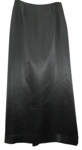 Carmen Marc Valvo Petite Satin Cocktail Formal Party Long Floor Length Maxi Skirt BLACK
