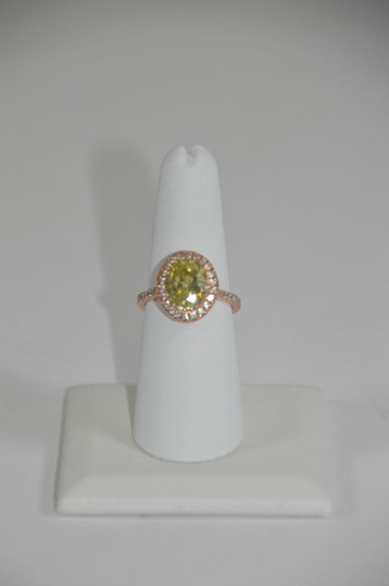 Peridot Center 14K Rose Gold 0.60ct. Genuine Diamond 3CT. Peridot Cocktail SZ 7 Ring Image 2
