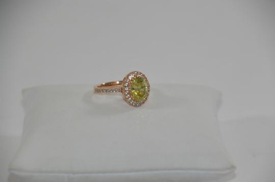Peridot Center 14K Rose Gold 0.60ct. Genuine Diamond 3CT. Peridot Cocktail SZ 7 Ring Image 3