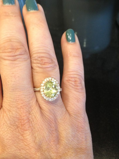 Peridot Center 14K Rose Gold 0.60ct. Genuine Diamond 3CT. Peridot Cocktail SZ 7 Ring Image 6