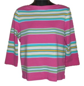 Ralph Lauren Nautical Casual Cotton Preppy Striped Boatneck Colorful Bright T Shirt PINK, BLUE, GREEN