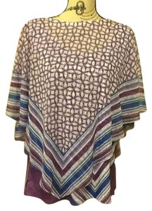 One World Geometric Comfortable Flowy Lightweight Poncho Top Purple