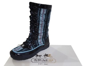 Coach Peggey Women Snow Fun Comfortable Stylish Warm Black/Teal Multi Boots