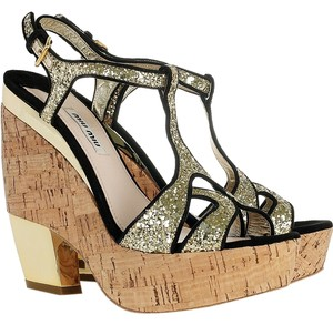 Miu Miu Black, Gold Wedges