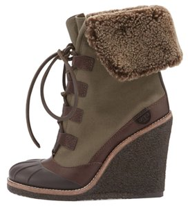 Tory Burch Wedge Boot Espresso / New Olive Boots