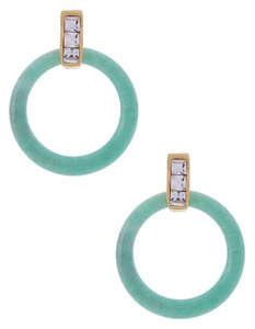 Rachel Zoe Rachel Zoe Green Adventurine And Crystal Hoop Earrings