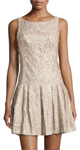 Nicole Miller Gold Shimmer Sleeveless Drop-waist Dress