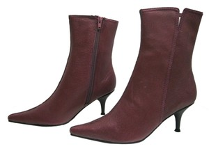 Newport News Leather Leather Ankle Side Zipper Kitten Heel Color Size 5.5 Pointed Toe Port Wine Boots
