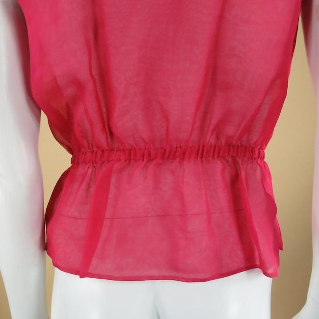 Chanel Fuschia Beaded Sleeveless Cinch Party Top Pink