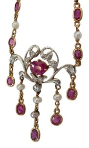 Other Rare 1900s Edwardian Natural Rubies Diamond and Platinum Necklace