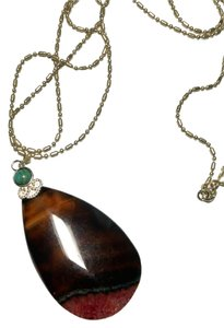 New Agate Stone W/ Small Turquoise Gemstone Pendant Necklace 925 Silver 24 in. J1488