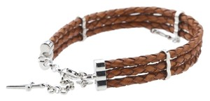 Cesare Paciotti Cesare Paciotti Triple Row Braided Leather Bracelet 925 silver sword