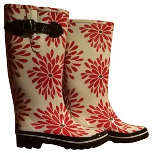 Kate Spade Red Daisies/Off White Boots