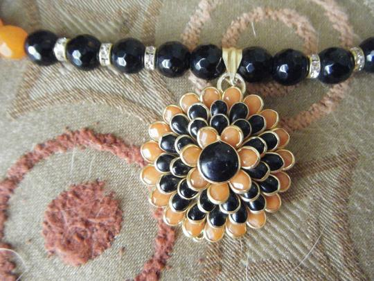 unknown Orange and Black Agate Necklace with Pacci Bead Pendant and Pierced Earrings