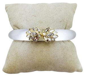 Alexis Bittar Alexis Bittar White Lucite And Gold Hinged Bangle Bracelet New