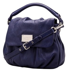 Marc by Marc Jacobs Leather Silver Hardware Satchel in Navy Blue