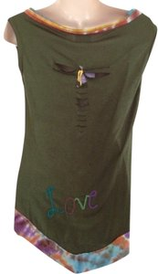 Blue Sky T Shirt Olive Green Multi