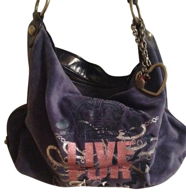 Item - Spring Purple Velour and Leather Hobo Bag
