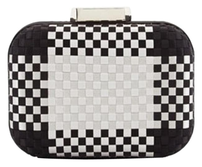 Item - Evening Black and Silver Woven Satin Clutch