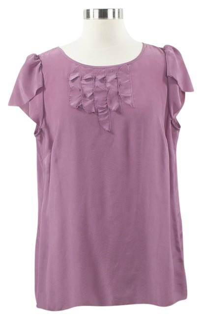 Banana Republic Petite Large 100% Silk Short Sleeved Top Mauve