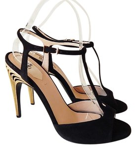 Fendi Pump Heels Gold Strappy Black Sandals