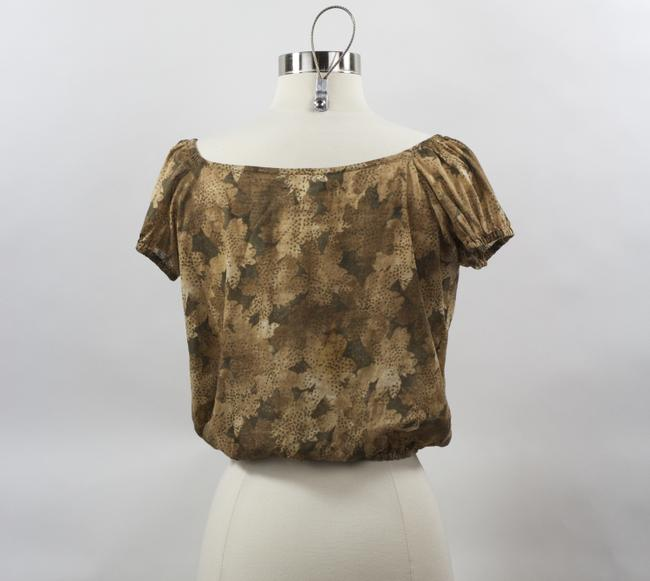 Banana Republic Xs Brown And Tans Leaf Print 100% Cotton Made In Thailand Top Mixed Browns