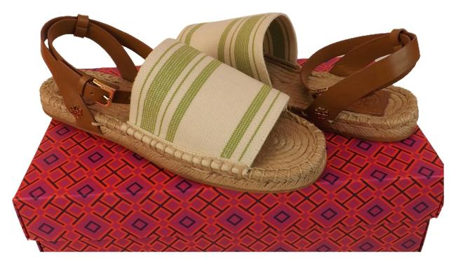 Tory Burch Ivory/Olive/Royal Tan Awning Elastic Stripe Reva Canvas Leather Espadrilles Flats Sandals Size US 8.5 Regular (M, B) Tory Burch Ivory/Olive/Royal Tan Awning Elastic Stripe Reva Canvas Leather Espadrilles Flats Sandals Size US 8.5 Regular (M, B) Image 1