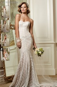 Wtoo Ivory Lace Pippin 13111 Modern Wedding Dress Size 4 (S)