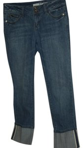 DKNY Donna Karan Designer Inverted Wash Straight Leg Jeans-Medium Wash