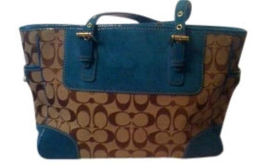 Preload https://item1.tradesy.com/images/coach-zippered-classic-trim-browns-with-turquoise-suede-signature-fabric-and-shoulder-bag-8500-0-0.jpg?width=440&height=440