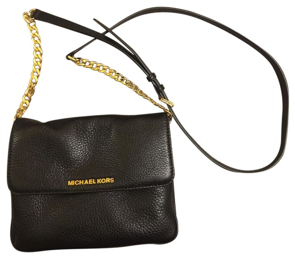 4f3b27b41e19 Michael Kors Bedford Double-gusset Black Leather Cross Body Bag ...