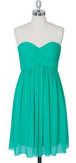 Green Chiffon Strapless Sweetheart Pleated Bust Destination Bridesmaid/Mob Dress Size 8 (M)