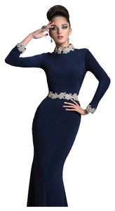Janique K6427 Size 12 Navy Motherof Bride Long Sleeves Jersy Designer Dress
