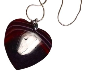 New Agate Gemstone Pendant Necklace 925 Silver Purple Stone J1493