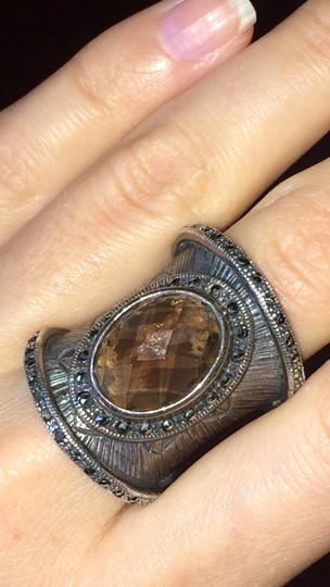 Other Beautiful silver statement ring with smoky quartz stone Image 5