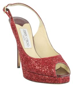 Jimmy Choo Slingback Platform High Heels Red Glitter Formal