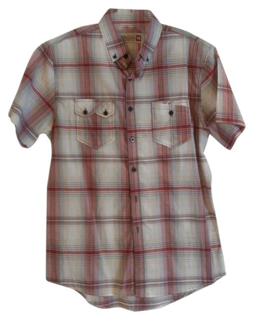 Sovereign Codes Button Down Shirt Maroon and White Plaid