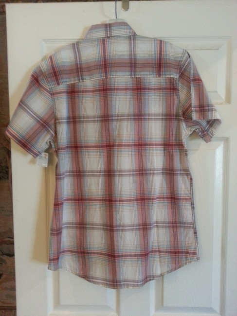 Sovereign Codes Button Down Shirt Maroon and White Plaid Image 2