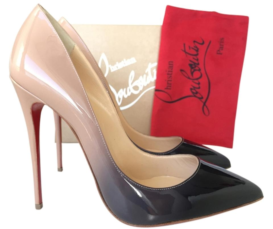 2652e1be355 Christian Louboutin Nude Black Pigalle Follies 120 Nude Black Degrade  Patent Leather Pumps
