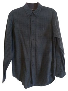 Ralph Lauren Button Down Shirt Black and Gray Plaid