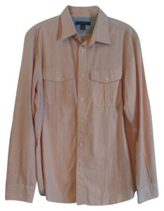 Banana Republic Button Down Shirt Coral and White Slim Stripe