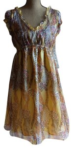 Nick & Mo short dress yellow beige Empire Waist Flowy And Fully Lined With Frilly Capped Sleeves on Tradesy